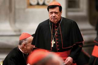 Cardinal Norberto Rivera Carrera of Mexico City is seen at the Vatican in this 2013 file photo.