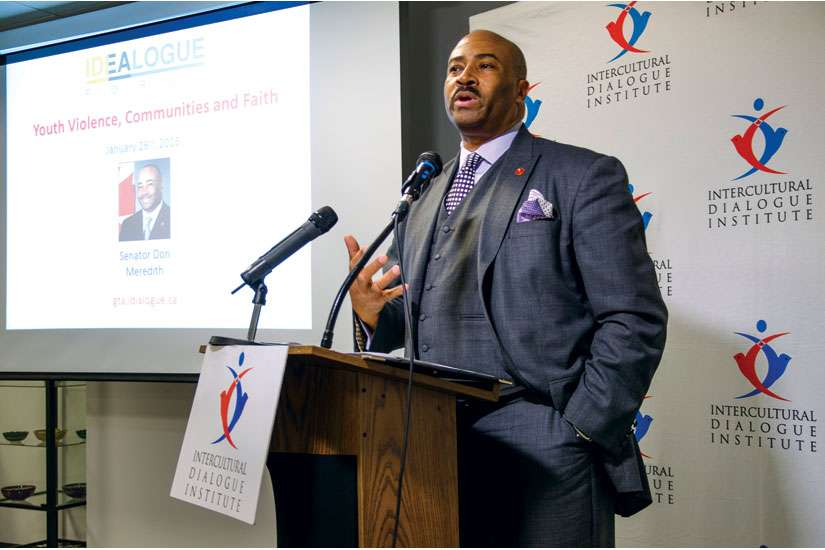 Senator Don Meredith tells faith leaders in Toronto Jan. 26 that they have to reach out and welcome young people before violent gangs do.
