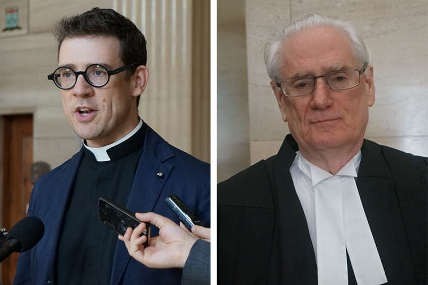 Canada's fomer religious freedom ambassador Deacon Andrew Bennett, left, and William Sammon, the lawyer who has represented Canada's bishops before the Supreme Court.