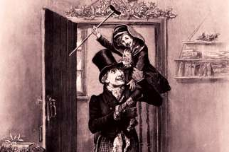 Tiny Tim makes the most of Christmas in this 1870 illustration by Fred Barnard for Charles Dickens' 1843 classic, A Christmas Carol.