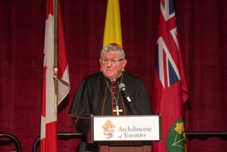 Speaking to more than 1,700 attendees at the 38th annual Cardinal's Dinner in downtown Toronto Oct. 26, Cardinal Collins urged the largely Catholic audience to evangelize a culture in which life and tolerance for contrary views are increasingly being devalued.