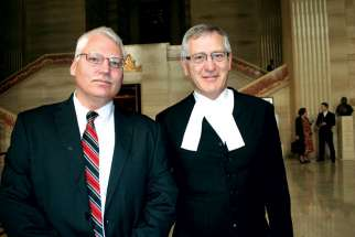 Bill Whatcott and lawyer Tom Schuck at the Supreme Court of Canada in 2012.