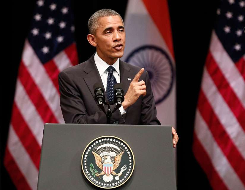 U.S. President Barack Obama addresses a gathering at Siri Fort Auditorium in New Delhi Jan. 27. An Indian Catholic leader welcomed the parting message of Obama, who reiterated freedom of religion as a fundamental right.