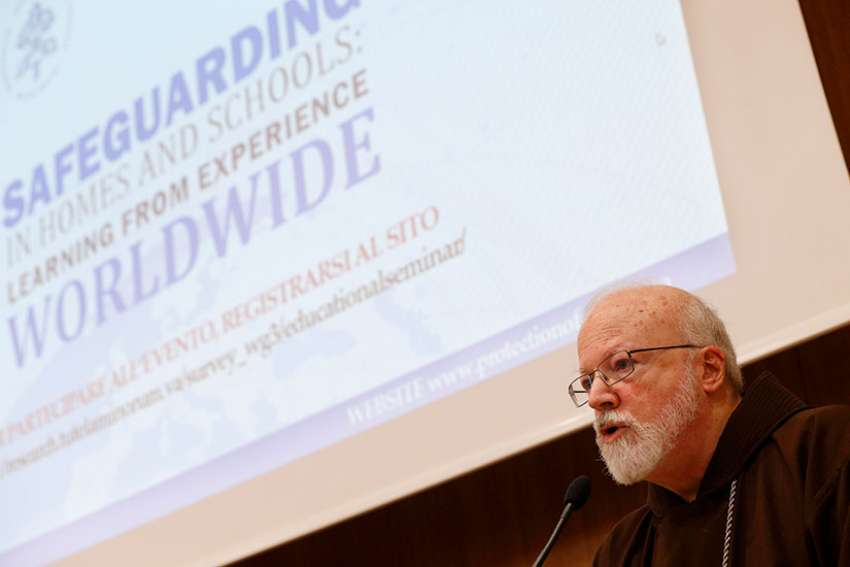 U.S. Cardinal Sean P. O'Malley, president of the Pontifical Commission for the Protection of Minors, speaks during a seminar on safeguarding children at the Pontifical Gregorian University in Rome March 23.