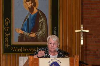 Sr. Nuala Kenny in front of an icon of St. Joseph as she speaks at Novalis' Living with Christ Appreciation Night Oct. 4 at Toronto's Regis College.