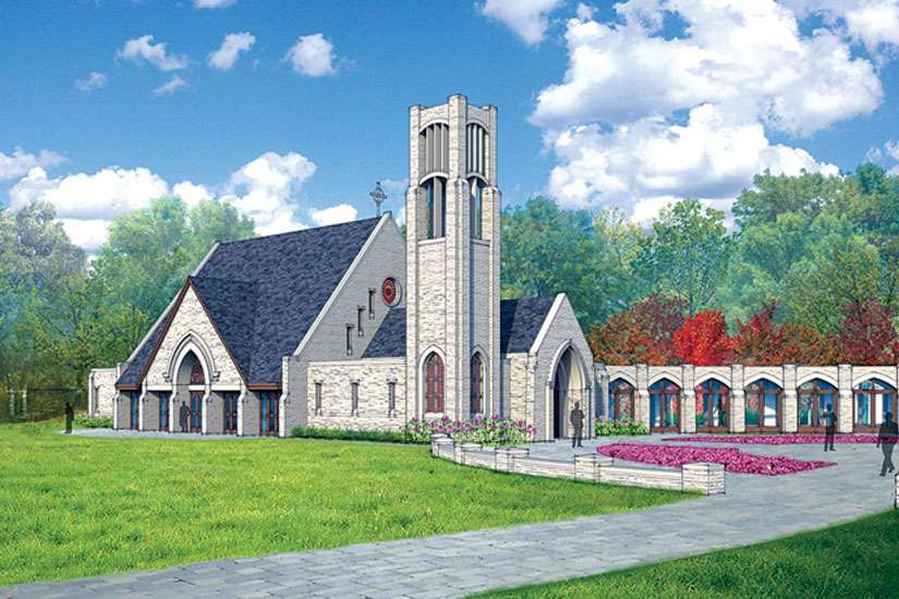 This is a rendering of a Nebraska retreat centre planned by the Cloisters on the Platte Foundation, which includes a stone chapel.