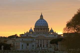 St. Peter's Basilica seen from Rome in 2013. The Holy See has adhered to the U.N. Convention Against Corruption, an international treaty focused on preventing, outlawing and prosecuting corruption within nations and internationally.
