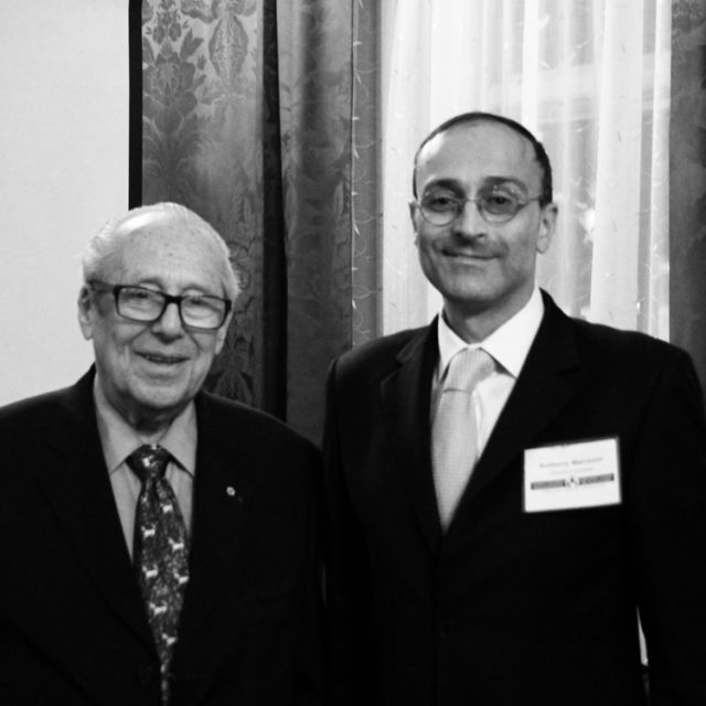 Montreal interfaith pioneer Victor Goldbloom with Deacon Anthony Mansour, the Director of the Canadian Centre for Ecumenism.