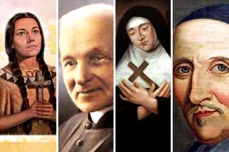 Four people who builit their lives in Canada were canonized during the decade. From left, St. Kateri Tekakwitha, St. Brother André, St. Marie de l'Incarnation, and St. François de Laval.