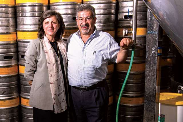 The Khourys, Maria and David, who run the brewery that makes Palestine's national beer, Taybeh Golden.