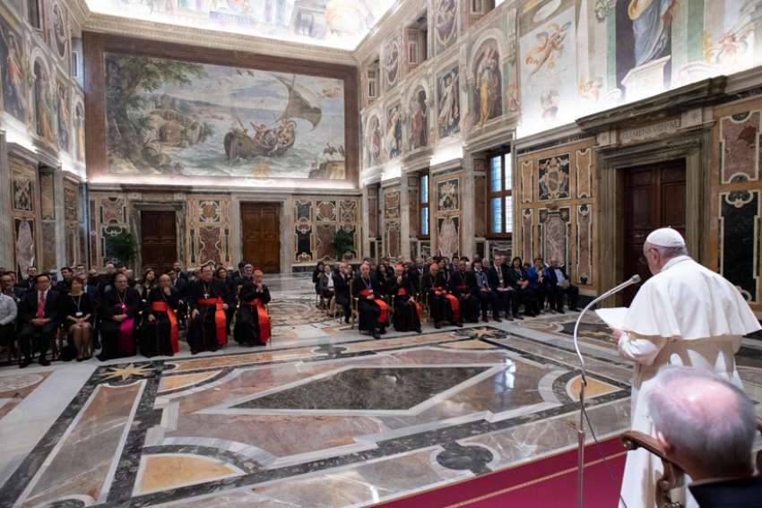 Pope Francis arrives for a meeting with members and consultants of the Dicastery for Laity, the Family and Life in the apostolic palace of the Vatican Nov. 16, 2019. The dicastery was holding its first plenary assembly since its creation in 2016.