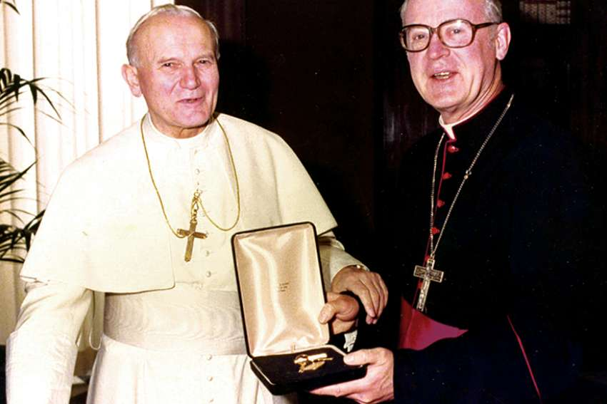 Bishop Sherlock with St. Pope John  Paul II.