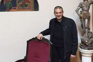 Father Jacques Mourad poses for a photo Nov. 11, 2015 at Our Lady of the Annunciation Church in Beirut. The Syriac-Catholic priest, who was held captive by the Islamic State group for nearly five months in 2015, called on Canada to undertake diplomatic steps to end the Syrian civil war.