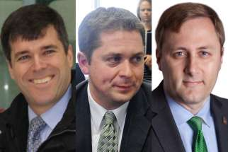 The top three preferred candidates in the Conservative leadership as ranked by pro-life group Right Now are former M.P. Pierre Lemieux, left, M.P. Andrew Sheer, centre, and M.P. Brad Trost.