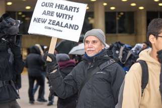 Hundreds of Torontonians turned up at Nathan Phillips Square on March 15 in response to the New Zealand shooting.
