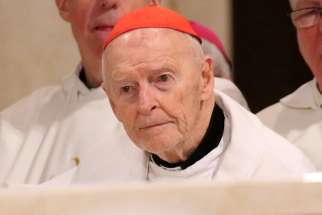 Cardinal Theodore E. McCarrick, retired archbishop of Washington, is seen during the opening Mass of the National Prayer Vigil for Life at the Basilica of the National Shrine of the Immaculate Conception in Washington Jan. 18. Pope Francis accepted Cardinal McCarrick's resignation and ordered him to a life of prayer and penance July 27.