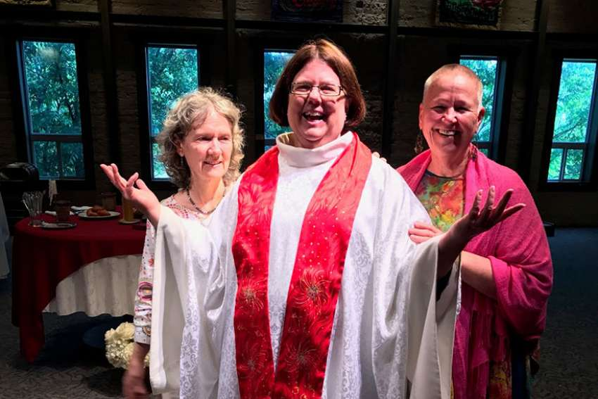 The Association of Roman Catholic Women Priests ordained Abigail Eltzroth, centre, as priest at Jubilee! Community church in Asheville, N.C. April 30.
