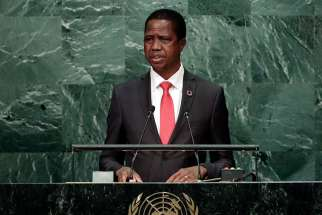 Zambian President Edgar Chagwa Lungu speaks in 2016 at the United Nations General Assembly headquarters in New York. Zambia's bishops' conference joined other faith leaders in deploring worsening tensions in the east African country, accusing its president of intimidating opponents and silencing the media.
