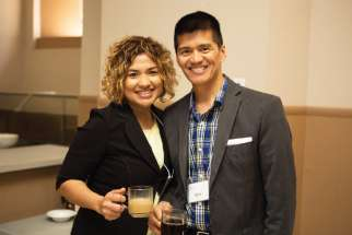 Candice and Vinzon Pingol, left, who set up an endowment through ShareLife to honour Vinzon's father, find Legacy Societies an easy way to put their money to use in honouring Ben Pingol.