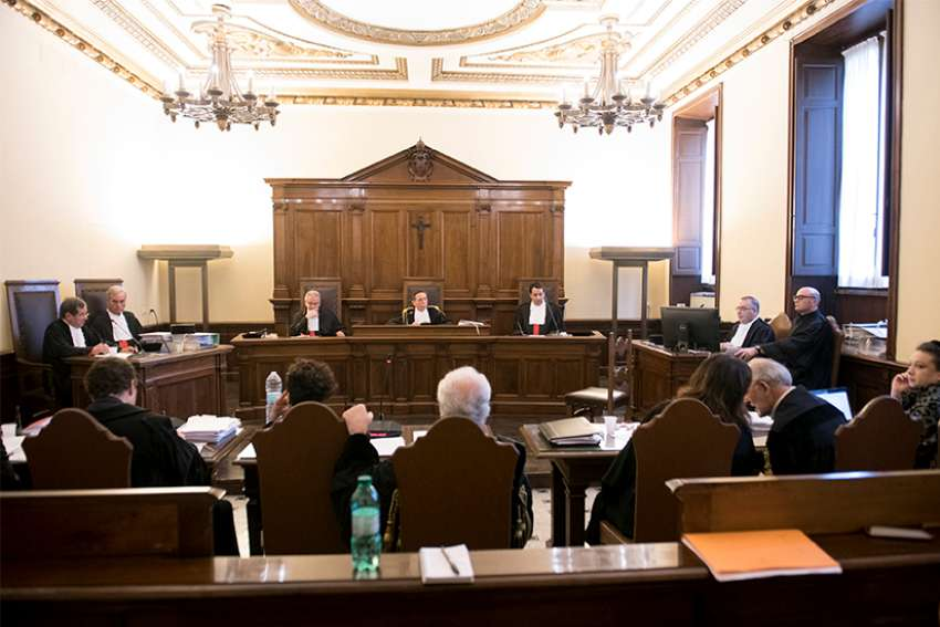 The courtroom where Angelo Caloia, the former president of the Institute for Works of Religion, will have his first hearing is pictured at the Vatican May 9.