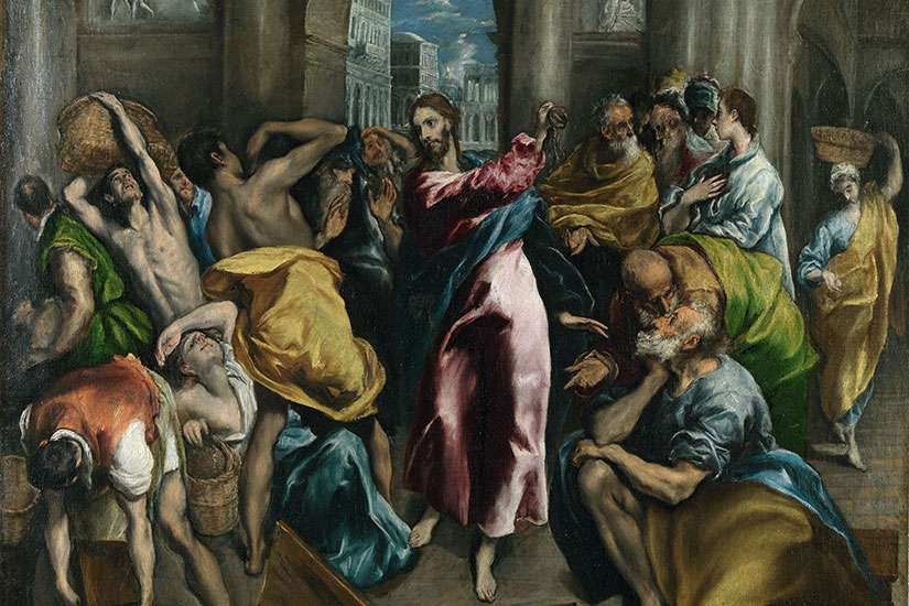 Christ Driving the Money Changers from the Temple, London version, by El Greco