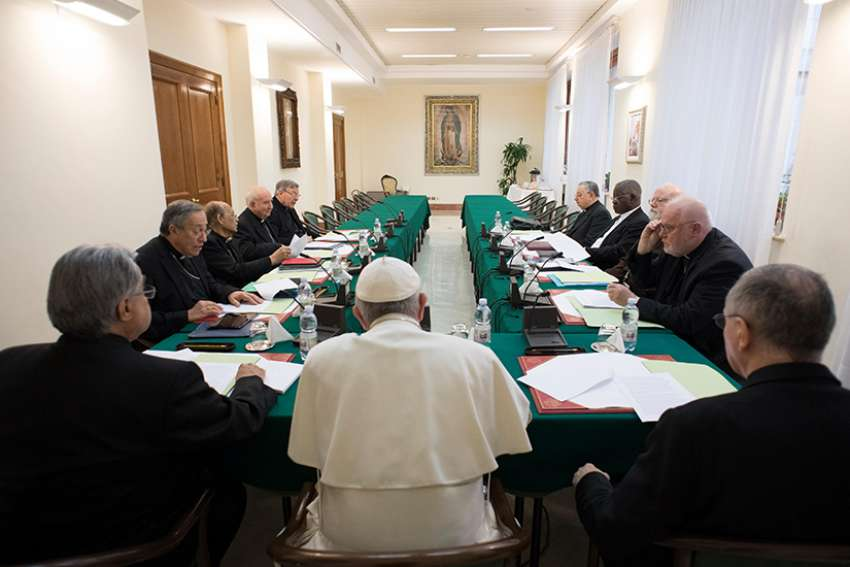 Pope Francis leads the 18th meeting of his Council of Cardinals at the Vatican Feb. 13, 2017. The Council of Cardinals, often referred to as the C9, held its first meeting of the year Feb. 26-28 with Pope Francis.