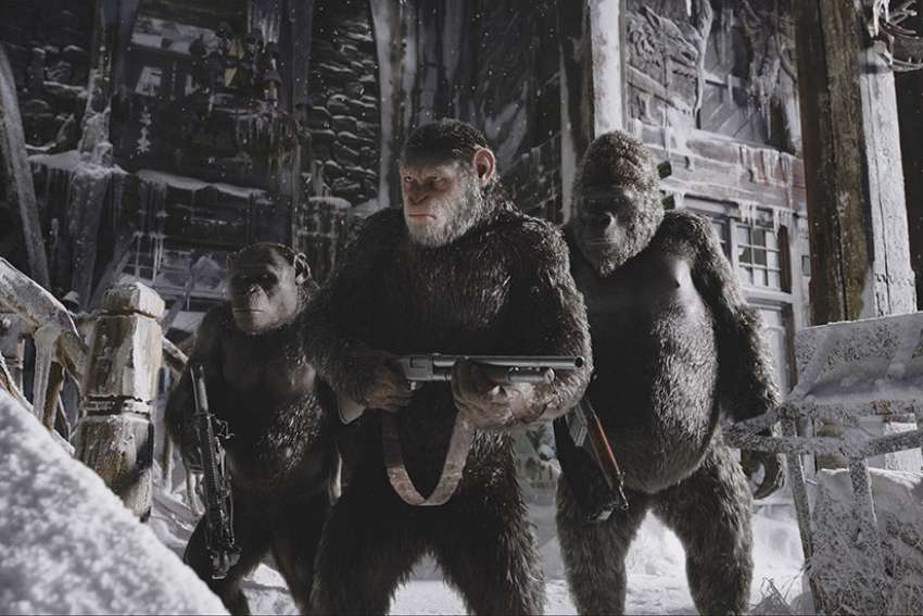 "This is a scene from the movie ""War for the Planet of the Apes."""