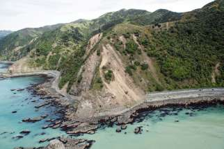 Landslides block State Highway One near Kaikoura, New Zealand, on Nov. 15, a day after a strong earthquake shook the area.