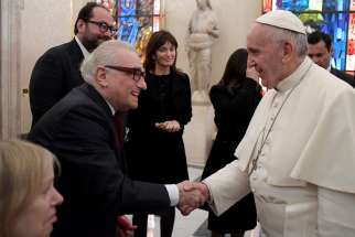 Pope Francis meets U.S. film director Martin Scorsese during a Nov. 30 private audience at the Vatican.