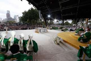 Pope Francis celebrates the closing Mass of the World Meeting of Families on Benjamin Franklin Parkway in Philadelphia Sept. 27.