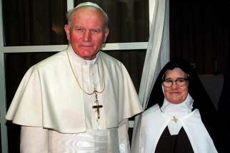 Pope John Paul II is pictured with Carmelite Sister Lucia dos Santos, the last of the three Fatima visionaries alive in 1991. Recent popes have had a special affection for Our Lady of Fatima, but no pope's connection can match that of now St. John Paul II.