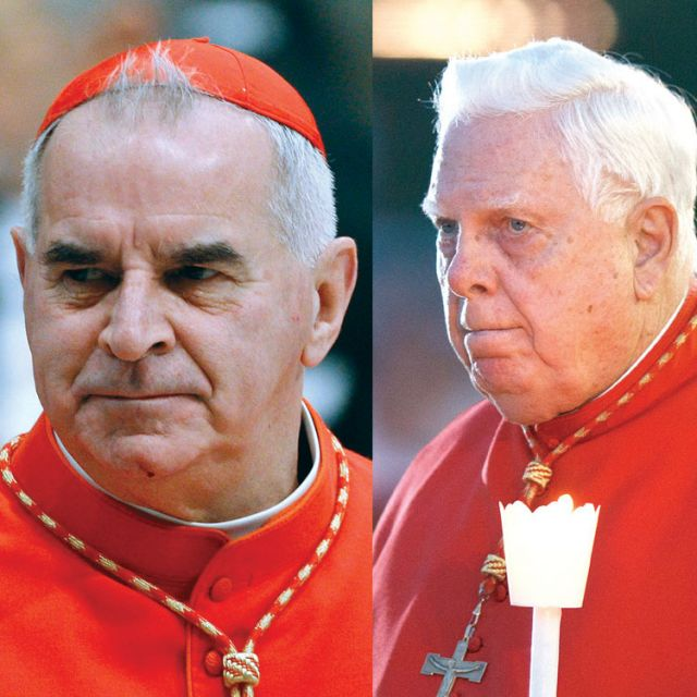 Cardinals Keith O'Brien, left, and Bernard Law. Both men ran afoul of the Church, but their discipline was handled quite differently.