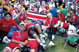 Young Canadians were in abundance at World Youth Day in Panama in January. This group proudly let their nationality be known as they waited for Mass to begin along with half a million other WYD pilgrims.