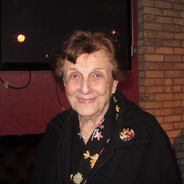 Concentration camp survivor Vera Schiff spoke April 23 at Faith Connections' Theology on Tap event.