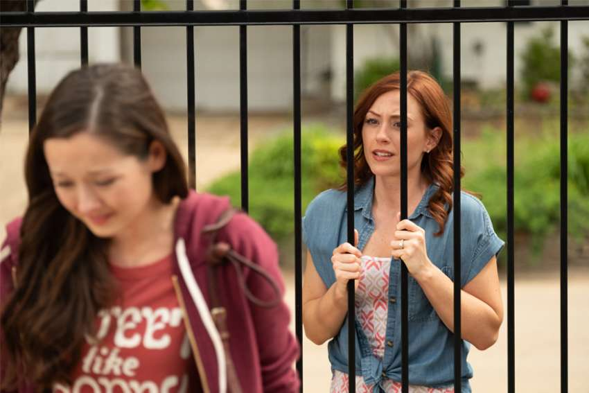 "Ashley Bratcher, right, who plays Abby Johnson, is pictured in a scene from the film ""Unplanned,"" the story of Abby Johnson, a former Planned Parenthood clinic director, and her decision to join the pro-life movement."