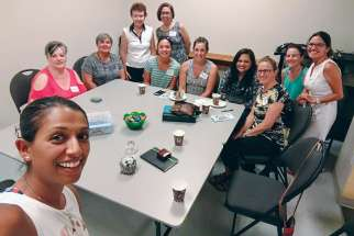 Anna-Lisa Athaide, foreground, with the Moms Group of St. Leo the Great Parish in Whitby, Ont.