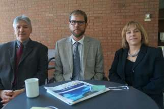 CNEWA Canada national director Carl Hetu; CCODP's new executive director David Leduc; and ACN executive director Marie-Claude Lalonde have joined forces to appeal for aid for Syrian refugees. They worked out their joint news release while attending the CCCB plenary as observers Sept. 14-15.