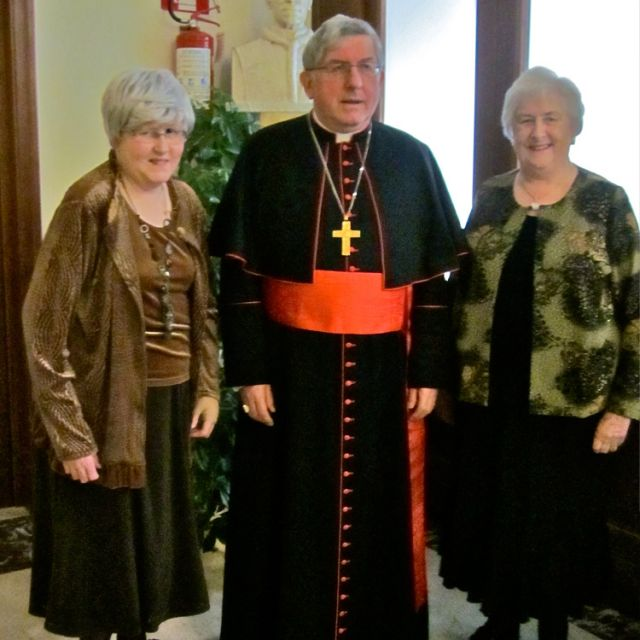 Cardinal Collins with his sisters Catherine and Patricia Collins.