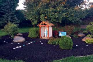 Peace garden at St. Andrew Elementary School in Orangeville, Ont., after Tove Schmidt and a team of volunteers brought it back to life.