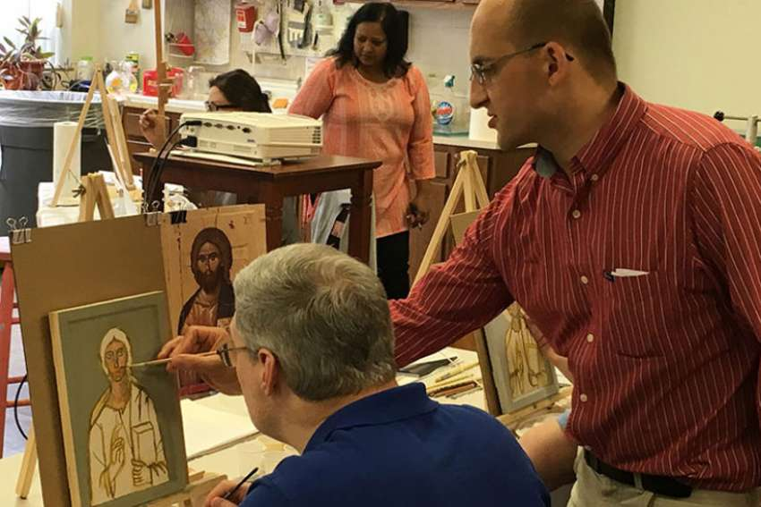 Philip Davydov, a Russian iconographer, teaches an iconography class at Wesley Theological Seminary, a United Methodist-affiliated school in Washington, D.C.