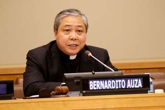 Archbishop Bernardito Auza, the Vatican's permanent observer to the United Nations, seen here in 2016, spoke at a a panel on human-made crises as drivers of migration May 22.