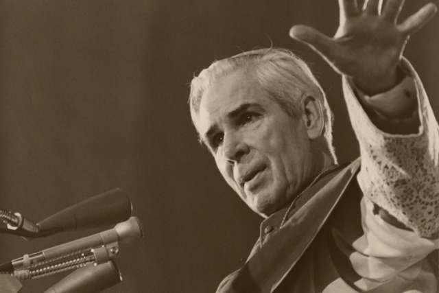 U.S. Archbishop Fulton J. Sheen is pictured preaching in an undated photo.