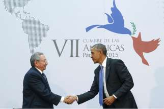 Cuba's President Raul Castro shakes hands with U.S. President Barack Obama as they hold a bilateral meeting during the seventh Summit of the Americas in Panama City April 11. Obama and Castro, who shook hands at the summit, seek to restore ties between the Cold War foes.