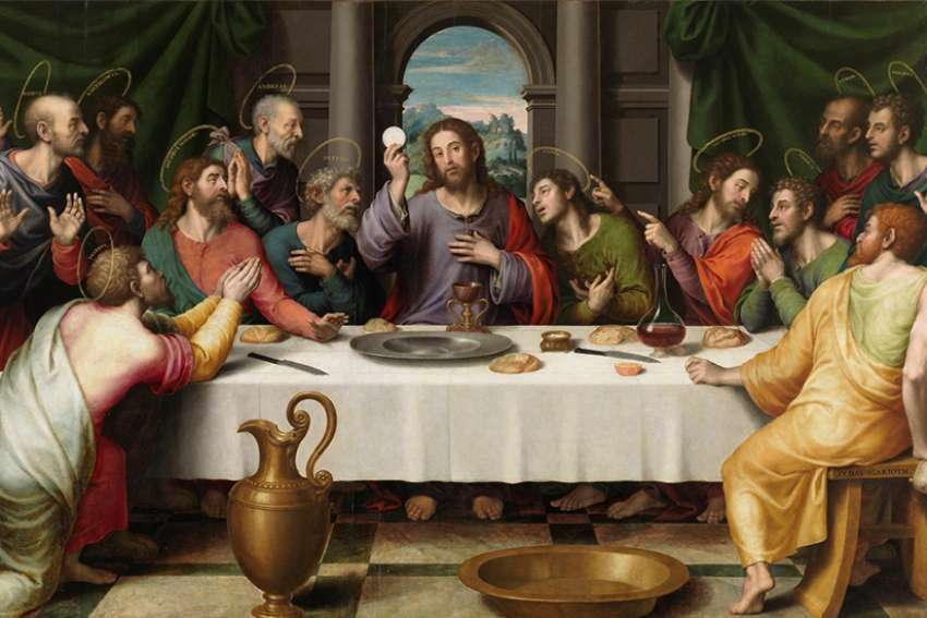 Last Supper (h. 1562), The first Eucharist, depicted by Juan de Juanes, mid-late 16th century, Museo del Prado