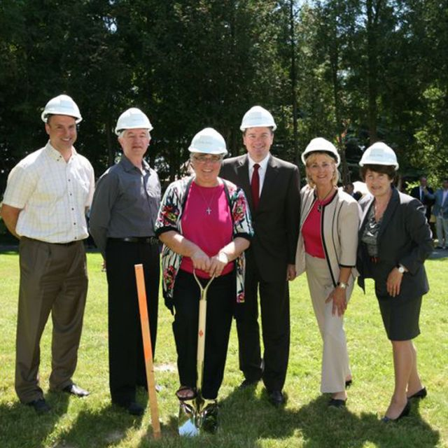 The Southdown Institute broke ground on a new facility in East Gwillimbury, Ont., June 26. There to put the shovel in the ground were Southdown's Joseph Forhan, redevelopment committee chair Terry Wilk, Southdown CEO Sr. Miriam Ukeritis, chair of the Emmanuel Convalescent Foundation board Peter Sweeney, East Gwillimbury Mayor Virginia Hackson, and Southdown Institute board chair Joanne De Laurentis.