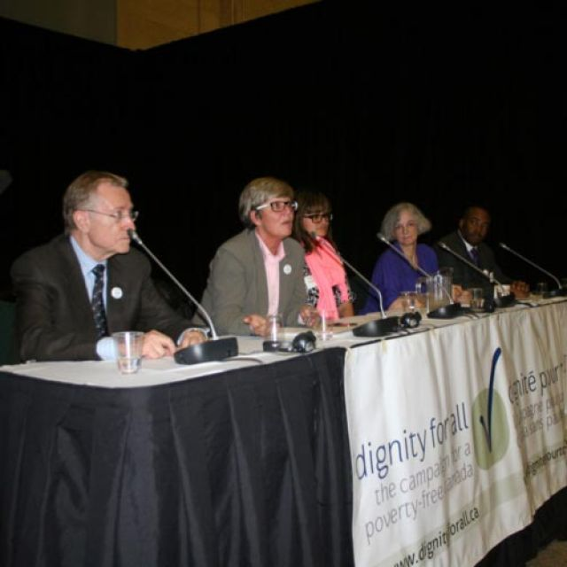 The All-Party Anti-Poverty Caucus panel featured Senator Art Eggleton, NDP human resources critic Chris Charlton, Geraldine King, Linda LeBlanc and Senator Don Meredith. The group is seeking ways to work across party lines to combat poverty in Canada.
