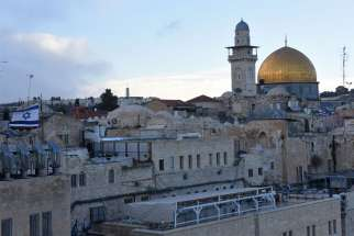 The gold-covered Dome of the Rock at the Temple Mount complex is seen in this overview of Jerusalem's Old City Dec. 6. 2017.