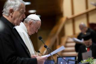 Jesuit Father Federico Lombardi and Pope attend the third day of the meeting on the protection of minors in the church at the Vatican Feb. 22, 2019.