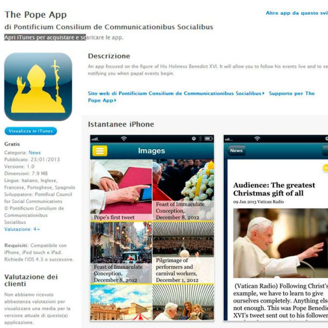"This is a screen capture of ""The Pope App,"" launched by the Vatican Jan. 23, the eve of Pope Benedict XVI's World Communications Day message. The app for the iPhone and iPad provides live streaming of papal events and video feeds from the Vatican's six w ebcams. An Android version is expected in February."