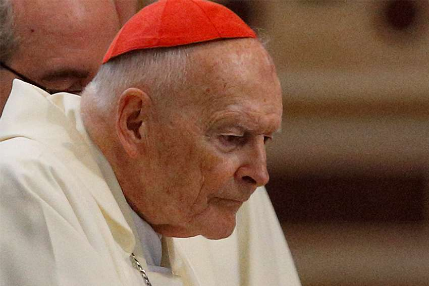 Then-Cardinal Theodore E. McCarrick attends a Mass in Rome April 13, 2018. The retired archbishop of Washington faces a canonical trial on allegations he sexually abused a minor and seminarians some years ago. Pope Francis accepted his resignation from the College of Cardinals July 28.